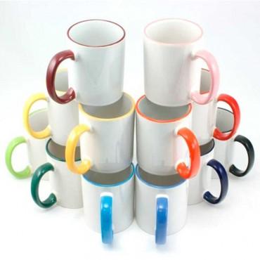Taza imprimible con asa y borde de color