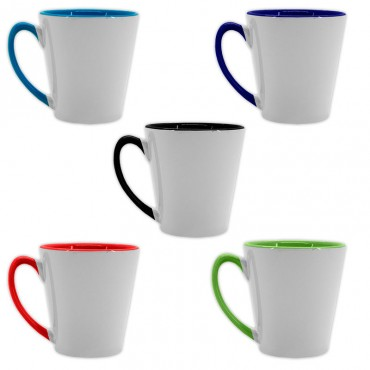 Taza imprimible cónica con asa e interior de color