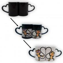 Pack de 2 tazas mágicas negras con asa corazón